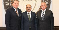 Antakya Ticaret Borsası Yönetim Kurulu Başkanı Ali Celal Mursaloğlu ve Meclis Başkanı Veliş Bahadırlı'nın  MKÜ Rektörü Hasan Kaya Ziyareti