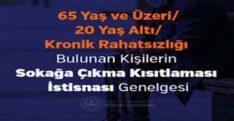 65 YAŞ VE ÜZERİ/20 YAŞ ALTI/KRONİK RAHATSIZLIĞI BULUNAN KİŞİLERİN SOKAĞA ÇIKMA KISITLAMASI İSTİSNASI GENELGESİ