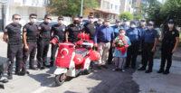POLİSTEN HASTA GENCE AKÜLÜ MOTOSİKLET SÜRPRİZİ