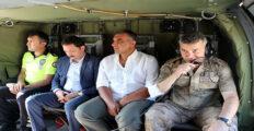 JANDARMA VE POLİS EKİPLERİ HELİKOPTERLE TRAFİK DENETİMİ YAPTI
